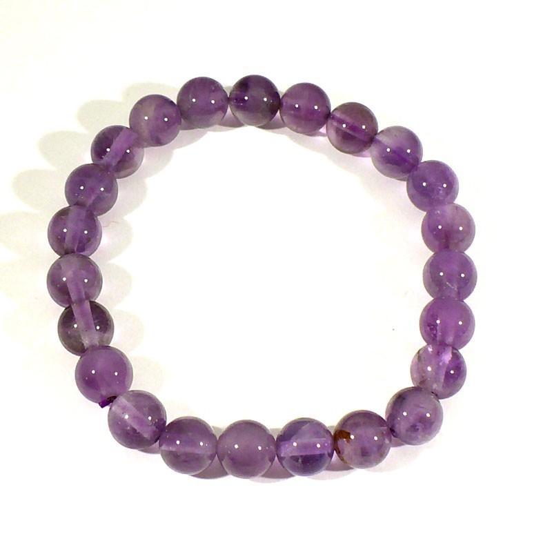 Bracelet en améthyste perles rondes 8mm