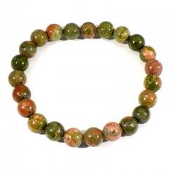 bracelet en unakite (épidote) perles rondes 8mm