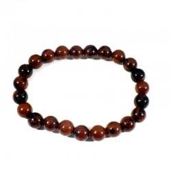 bracelet en obsidienne acajou perles rondes 8mm