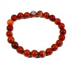 bracelet en jaspe rouge perles rondes 8mm