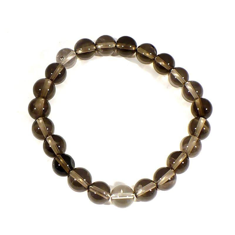bracelet en quartz fumé perles rondes 8mm
