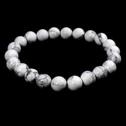 bracelet en howlite perles rondes 8mm