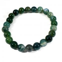 bracelet en agate mousse perles rondes 8mm