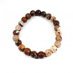 bracelet en jaspe bréchique perles rondes 8mm