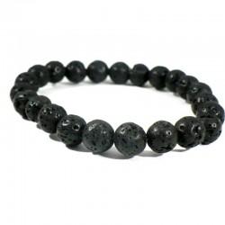 bracelet en pierre de lave perles rondes 8mm