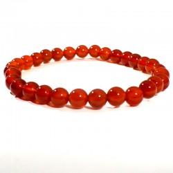bracelet en cornaline perles rondes 6mm