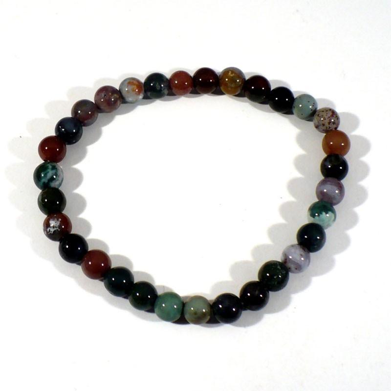 bracelet en agate multicolore perles rondes 6mm