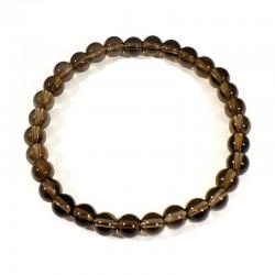 bracelet en quartz fumé perles rondes 6mm