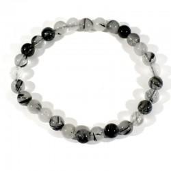 bracelet en quartz tourmaline perles rondes 6mm