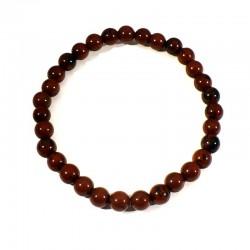 bracelet en obsidienne acajou perles rondes 6mm