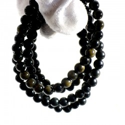 bracelet en obsidienne dorée perles rondes 6mm