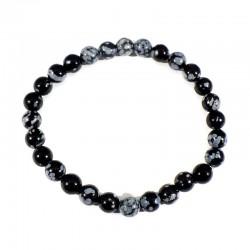 bracelet en obsidienne neige boules de 6mm