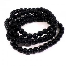 bracelet en tourmaline noire perles rondes 6mm