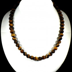 collier ras de cou en oeil de tigre perles rondes 8mm