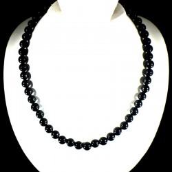 Collier ras de cou en obsidienne perles rondes 8mm