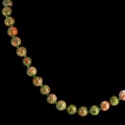 Collier en Unakite perles rondes et noeuds