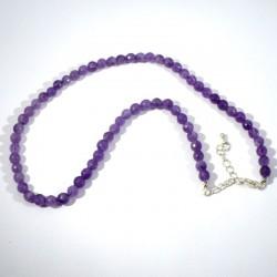 Collier en Améthyste perles rondes facettées 6mm