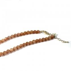 Collier 42cm en pierre de soleil perles rondes 6mm