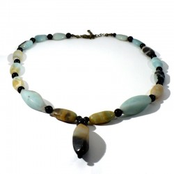 Collier en Amazonite black gold