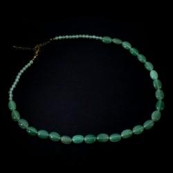 Collier en aventurine perles ovales