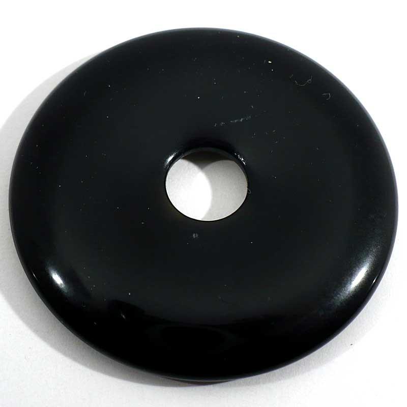 Pendentif donuts en onyx noir 5cm