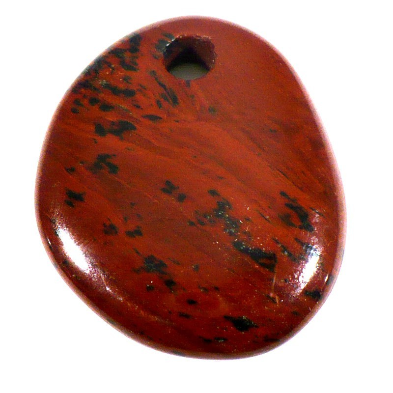 Pendentif galet plat en obsidienne acajou