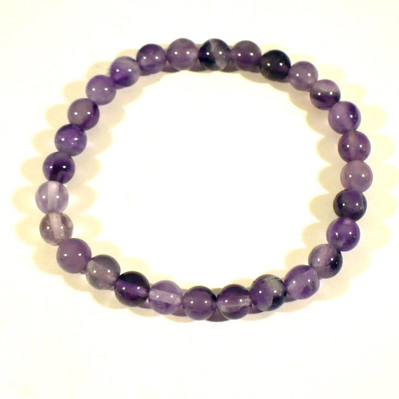 Bracelet enfant en améthyste perles rondes 6mm