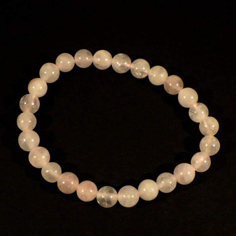 Bracelet enfant en quartz rose perles rondes 6mm