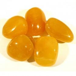 Calcite orange du Mexique - pierres roulées