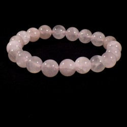 Bracelet en Quartz Rose perles rondes 10mm