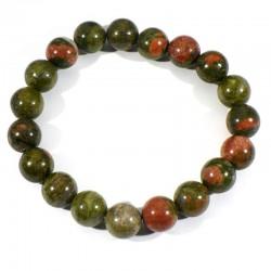 Bracelet en Unakite perles rondes 10mm