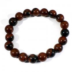Bracelet en Obsidienne acajou perles rondes 10mm