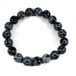 Bracelet en Obsidienne neige boules de 10mm