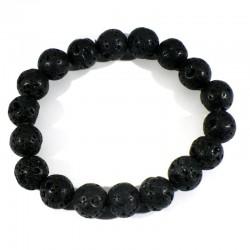 Bracelet en pierre de lave perles rondes 10mm