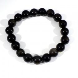 Bracelet en Obsidienne perles rondes 10mm