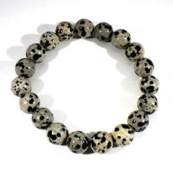 Bracelet en Jaspe dalmatien perles rondes 10mm