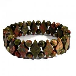 Bracelet losanges en Unakite (épidote)