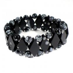 Bracelet losanges en Obsidienne neige