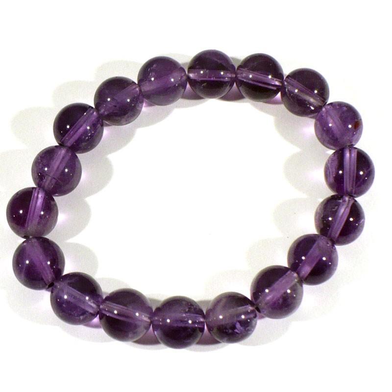 Bracelet en Améthyste perles rondes 10mm