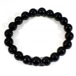 Bracelet en Tourmaline noire perles rondes 10mm