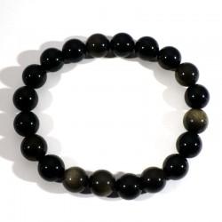 Bracelet en Obsidienne dorée perles rondes 10mm