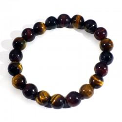 Bracelet Oeil de tigre, taureau, faucon perles rondes 10mm