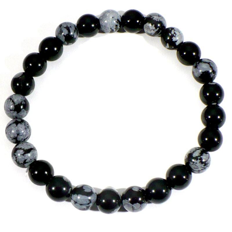 Bracelet en Obsidienne neige perles rondes 8mm
