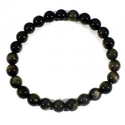 Bracelet en Obsidienne dorée perles rondes 8mm