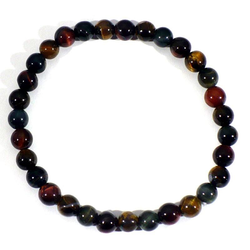 Bracelet Oeil de tigre, taureau, faucon perles rondes 6mm