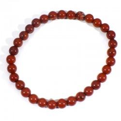 Bracelet en Jaspe rouge perles rondes 6mm