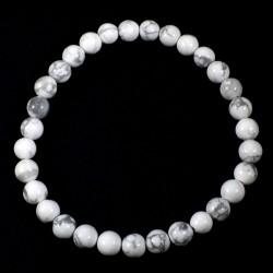 Bracelet en Howlite perles rondes 6mm