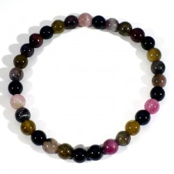 Bracelet en Tourmaline multicolore perles rondes 6mm