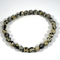 Bracelet en Jaspe dalmatien perles facettées 6mm