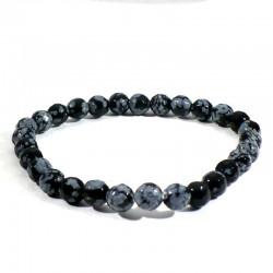 Bracelet en Obsidienne neige perles facettées 6mm